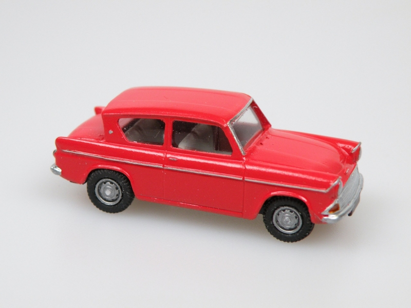 1959 Anglia 105E Traffic red